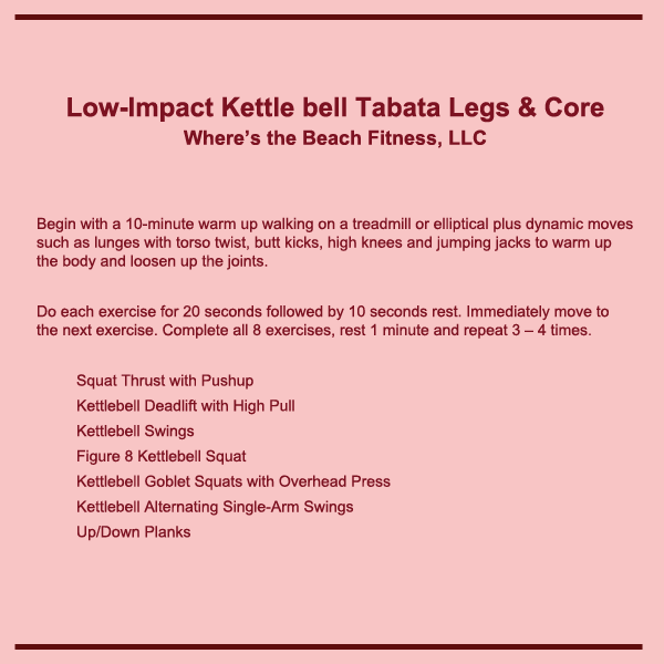 low impact kettlebell legs core tabata